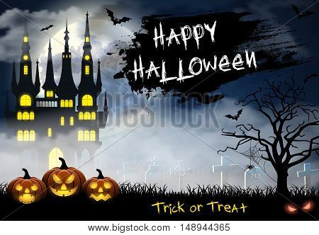 Spooky card for Halloween. blue background with full moon, tombstones, spider, castle and bats. Halloween Party with pumpkins. Vector Illustration.