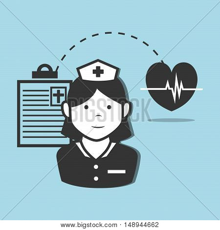 avatar woman nurse medical assitance with medicine report table and cardio pulse heart icon. vector illustration