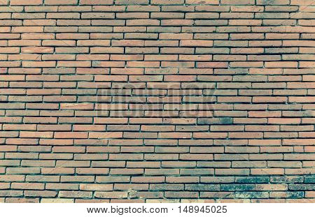 Vintage Tone Image Of Red Brick Wall .