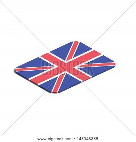 Flag of United Kingdom. Background white. Flag of United Kingdom isolated. 3d vector eps.