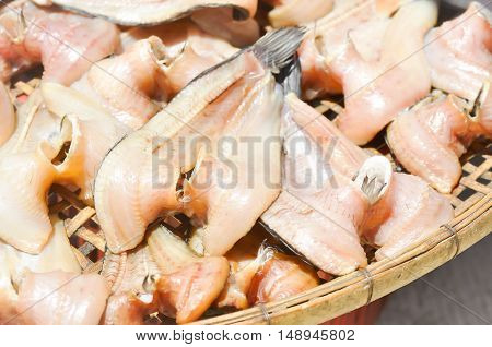 Sun-dried fish or dried fish in Thai food