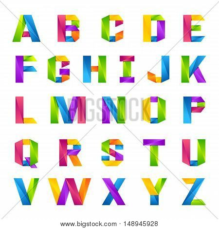 Fun english alphabet one line colorful letters set. Font style vector design template elements for your application or company.