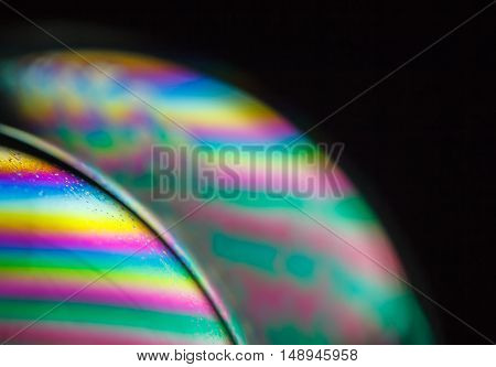 Psychedelic background blur made from soap bubble