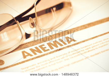 Anemia - Medicine Concept on Red Background with Blurred Text and Composition of Spectacles. Anemia - Medical Concept with Blurred Text and Spectacles on Red Background. Selective Focus. 3D Rendering.