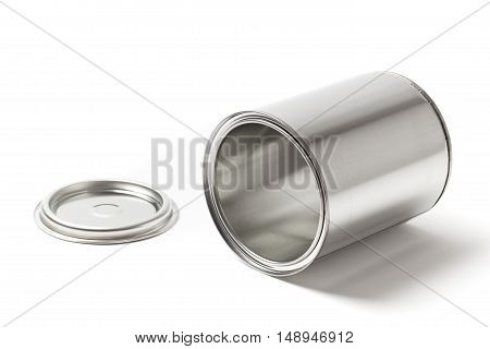 Open blank metallic paint can lying and isolated on a white background.