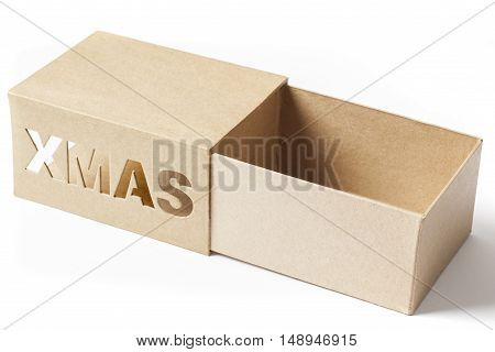 Open cardboard box for Christmas gifts isolated on white background.