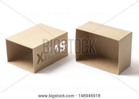 Open and empty carton box for Christmas gifts isolated on white background.