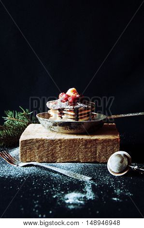 Sweet Fresh Poppy Seed Pancakes With Chocolate Fondant And Decor