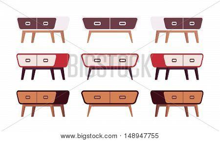 Set of retro sideboards isolated against white background. Cartoon vector flat-style illustration