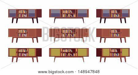 Set of retro credenzas with bookshelves isolated against white background. Cartoon vector flat-style illustration