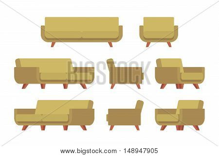 Set of retro sofa and armchair isolated against white background. Cartoon vector flat-style illustration
