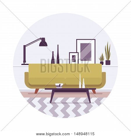 Retro interior with a sofa, lamp and pictures in a circle. Cartoon vector flat-style illustration