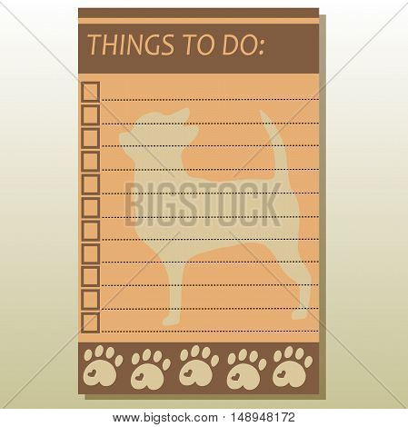 Very high quality original trendy  vector illustration of to do list with dog on background