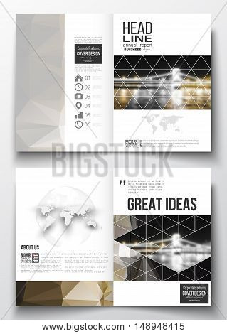 Set of business templates for brochure, magazine, flyer, booklet or annual report. Colorful polygonal background, blurred image, night city landscape, modern stylish triangular vector texture.