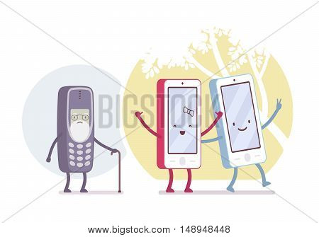 Old and new smartphone models in circles. Cartoon vector flat-style concept illustration