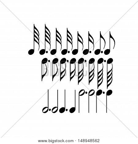 Musical symbols black on a white background. Vector illustration