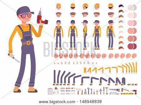 Male construction worker creation set. Build your own design. Cartoon vector flat-style infographic illustration