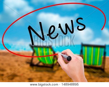 Man Hand Writing News With Black Marker On Visual Screen