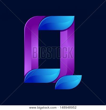 Q letter volume blue and purple color logo design template elements.
