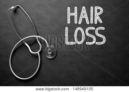 Medical Concept: Hair Loss Handwritten on Black Chalkboard. Medical Concept: Hair Loss - Medical Concept on Black Chalkboard. 3D Rendering.