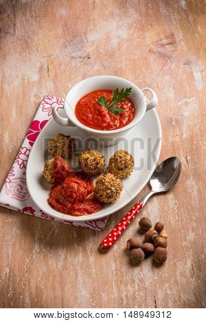 maize vegetarian meatball with tomatoes sauce