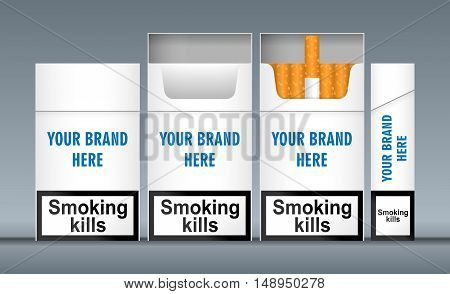 Digital vector white cigarette pack mockup, front and lateral view, smoking kills, realistic flat style, isolated and ready for your design and logo