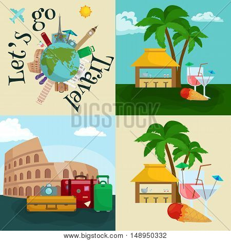 Travel tourism icons vector illustration, vacation traveling on airplane, planning a summer vacation, tourism and journey objects and passenger luggage isolated case for baggage