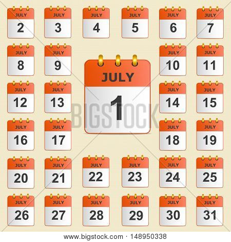 Full universal icon set wall-calendar in red. The month of July. The template is perfect for all your events, holidays, as a reminder etc. Vector illustration. Square location.