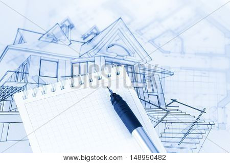 architecture drawing - house, notepad & pen