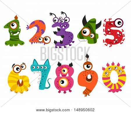 Funny cute monster numbers for halloween party event vector. Color numbers for mathematics and illustration number minsters for education