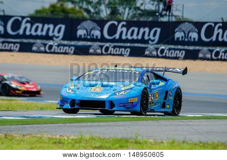 BURIRAM - THAILAND 24 : Lamborghini Super Trofeo Asia on display Buriram Super Race 2016 at Chang International Racing Circuit on July 24 2016 Buriram Thailand.