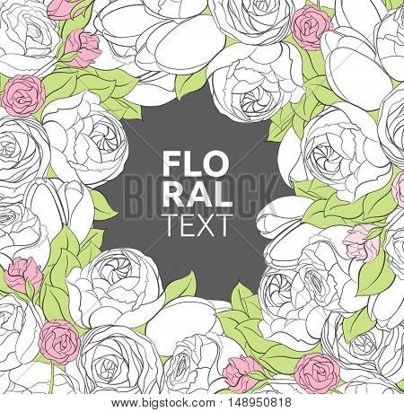 Floral illustration with peonies, roses and tulips flowers