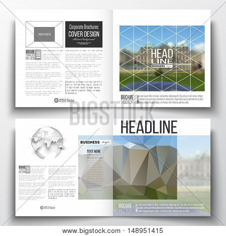 Set of annual report business templates for brochure, magazine, flyer or booklet. Polygonal background, blurred image, park landscape, modern stylish vector texture.