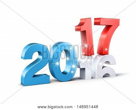 Glittering New Year red and blue 2017 type over 2016 isolated on white - 3D illustration