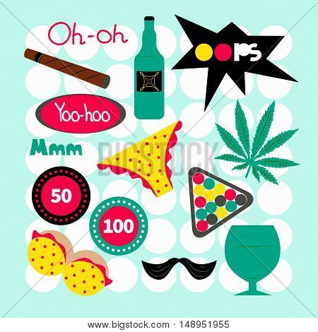Male pin pop art. Fashion vector set isolated. Patch, sticker, badge, label. Cartoon bottle, mustache, billiards, chips, brest lettering glass underwear marijuana Entertainment for bachelor guy