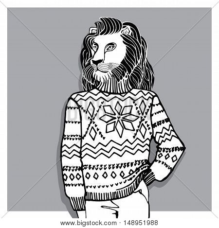 Hand Drawn doodle Illustration of  lion  Hipster in Jacquard hat and sweater . Merry Christmas , Happy new year Card .Outline  Fashion vector