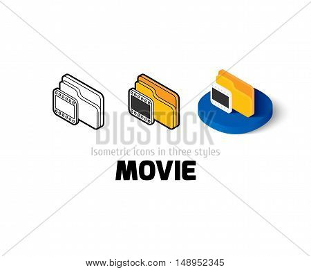 Movie icon, vector symbol in flat, outline and isometric style