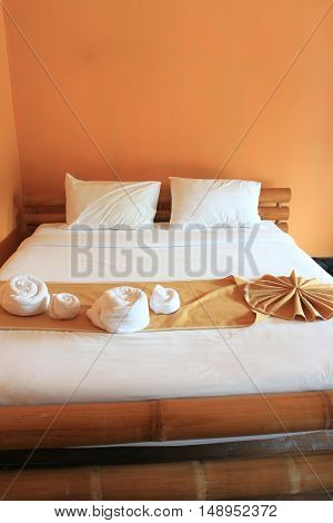 Orange bedroom for relaxing holidayconcept of tourism and interior.