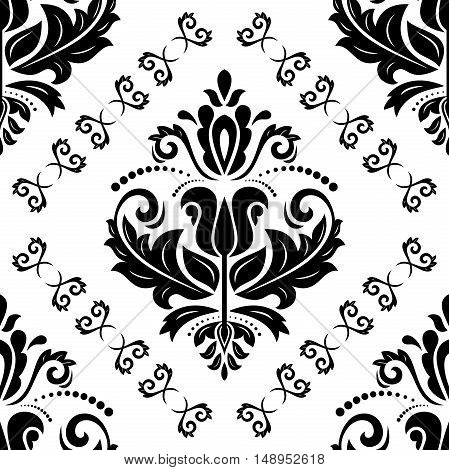 Seamless oriental ornament in the style of baroque. Traditional classic pattern. Black and white pattern