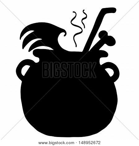 Very high quality original trendy  vector scary halloween witch pot