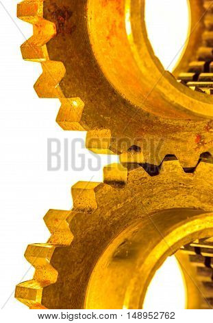 metal cog gears isolated on white back ground. closeup