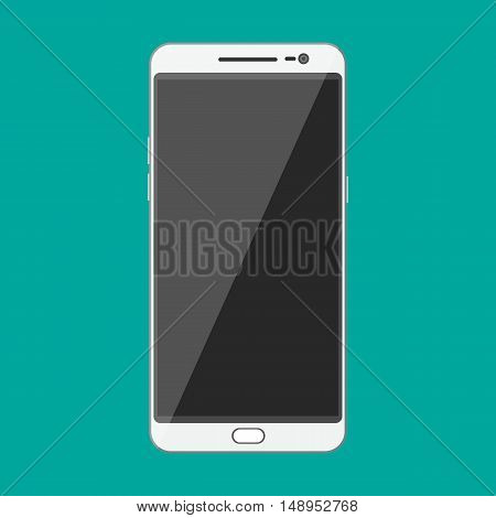 White modern touch screen smartphone. vector illustration in flat style on green background