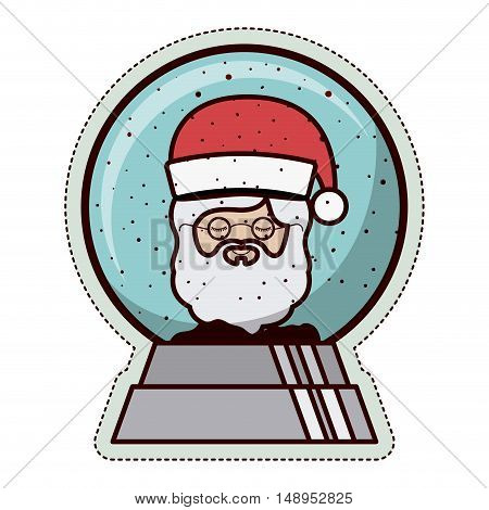 Santa and sphere icon. Merry Christmas season and decoration theme. Isolated design. Vector illustration