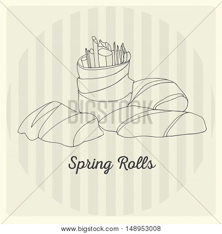 Spring rolls. Asian dish. Vector linear illustration.