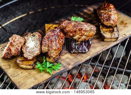 grilled cutlets with vegetables