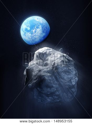 A large Meteor breaking up and heading towards planet Earth. 3D Illustration.