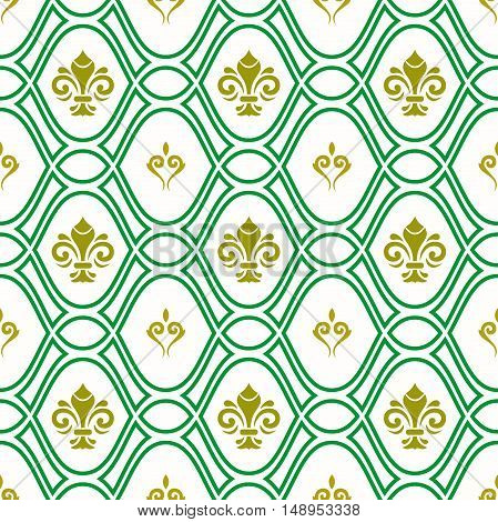 Seamless ornament. Modern geometric pattern with royal lilies. Green and golden pattern