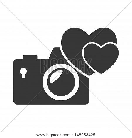 photographic camera device with heart shape icon silhouette. vector illustration