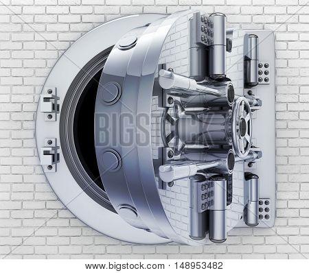 Safe door on brick wall (done in 3d rendering)