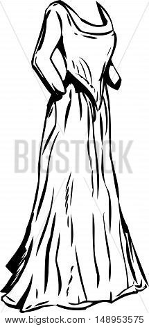 Outlined Long 18Th Century Dress